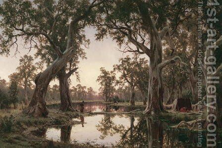 Evening Shadows Backwater of the Murray South Australia by Henry James Johnstone - Reproduction Oil Painting