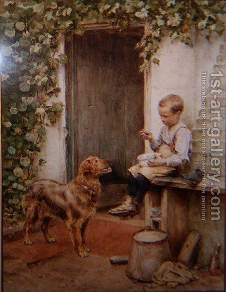 Waiting for Titbits by Henry James Johnstone - Reproduction Oil Painting