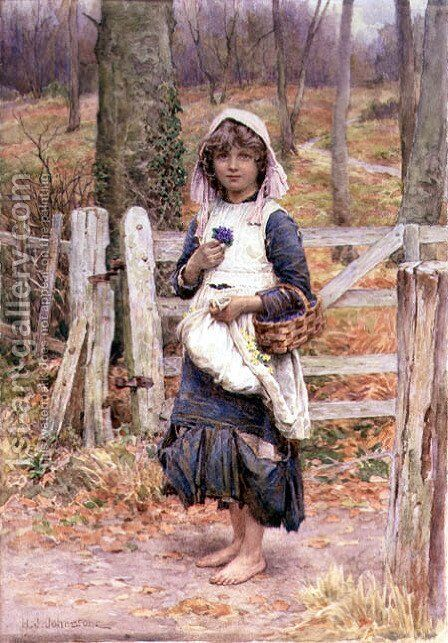 Girl holding a flower by Henry James Johnstone - Reproduction Oil Painting