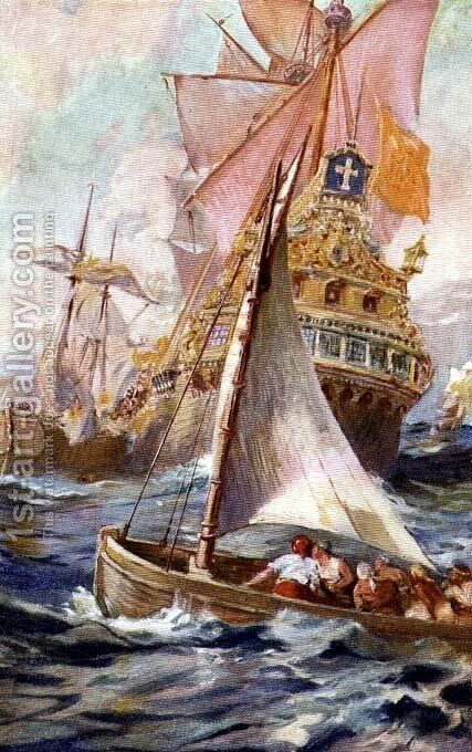 An Attack on a Spanish Galleon by Harry Hamilton Johnston - Reproduction Oil Painting