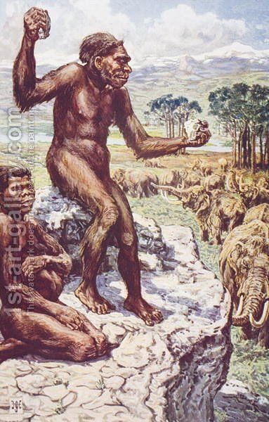 Neanderthal Mankind by Harry Hamilton Johnston - Reproduction Oil Painting