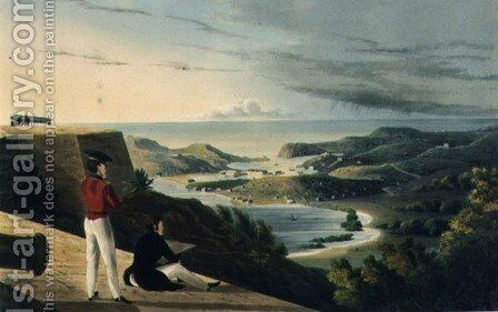 View of the English Harbour Antigua from Great George Fort Monks Hill by (after) Johnson, J. - Reproduction Oil Painting