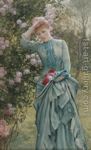 Gathering Roses by Edward Killingworth Johnson - Reproduction Oil Painting