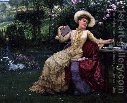 Drinking Coffee and Reading in the Garden by Edward Killingworth Johnson - Reproduction Oil Painting