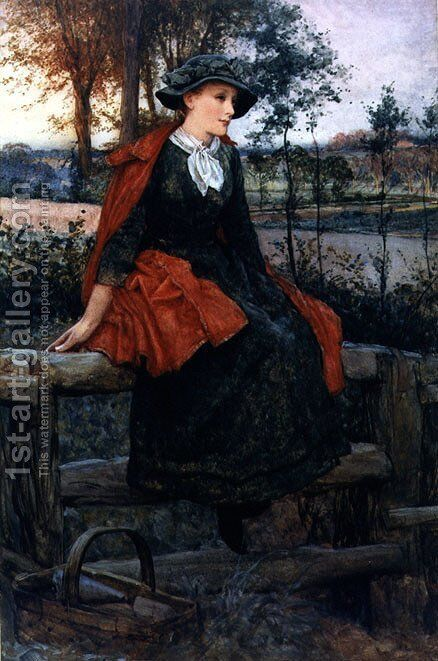 The Red Cape by Edward Killingworth Johnson - Reproduction Oil Painting