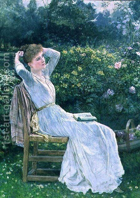 Summertime portrait of the artists wife Hannah by Edward Killingworth Johnson - Reproduction Oil Painting