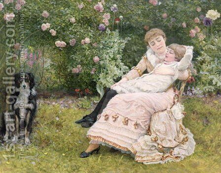 A rest in the garden by Edward Killingworth Johnson - Reproduction Oil Painting