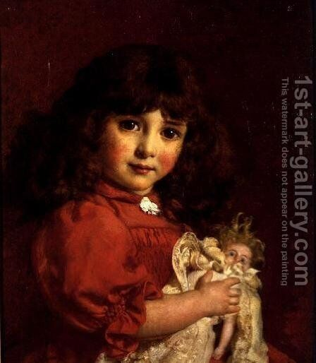 A Favourite Doll by Cyrus Johnson - Reproduction Oil Painting