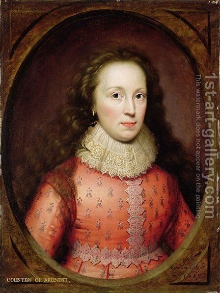 Portrait of a Woman traditionally identified as the Countess of Arundel by Cornelis I Johnson - Reproduction Oil Painting
