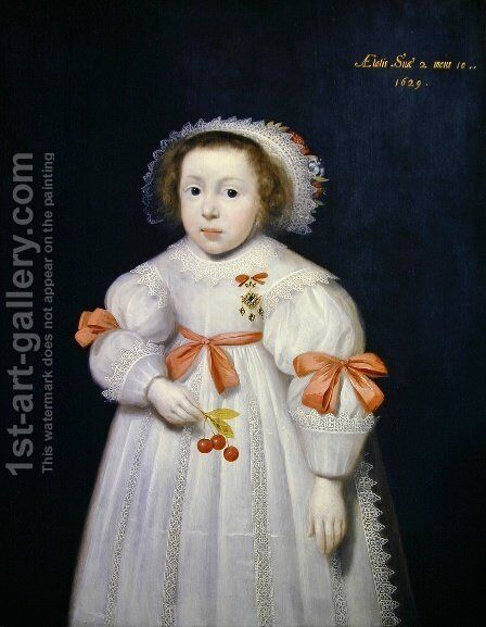 Portrait of a Young Girl by Cornelis I Johnson - Reproduction Oil Painting
