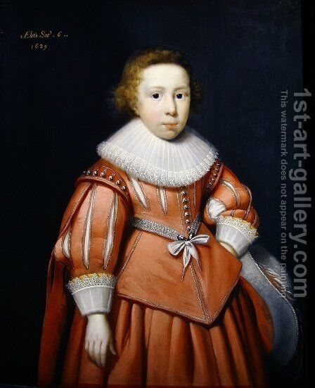 Portrait of a Young Boy by Cornelis I Johnson - Reproduction Oil Painting