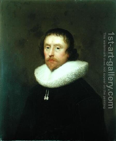 Portrait of Colonel Francis Hungate of Saxton by Cornelis I Johnson - Reproduction Oil Painting