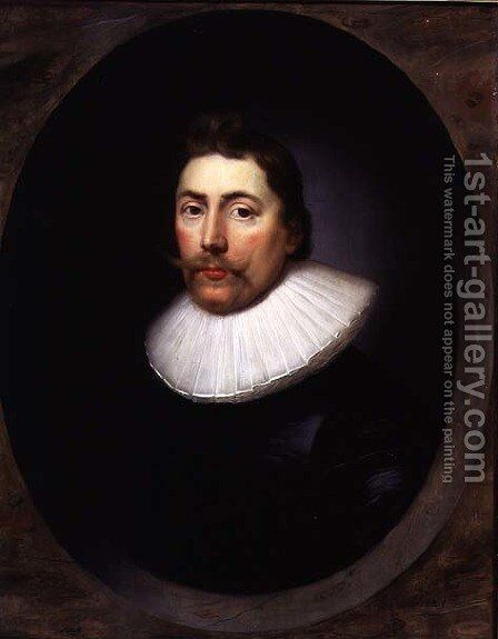 Portrait of a Gentleman by Cornelis I Johnson - Reproduction Oil Painting