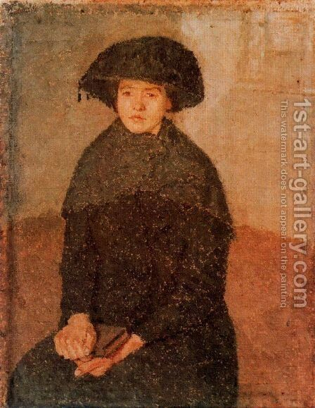 Young Woman Wearing a Large Hat by Gwen John - Reproduction Oil Painting