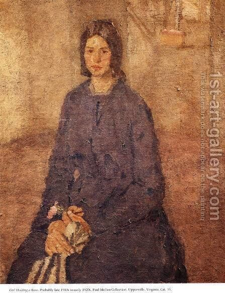 Girl Holding a Rose by Gwen John - Reproduction Oil Painting