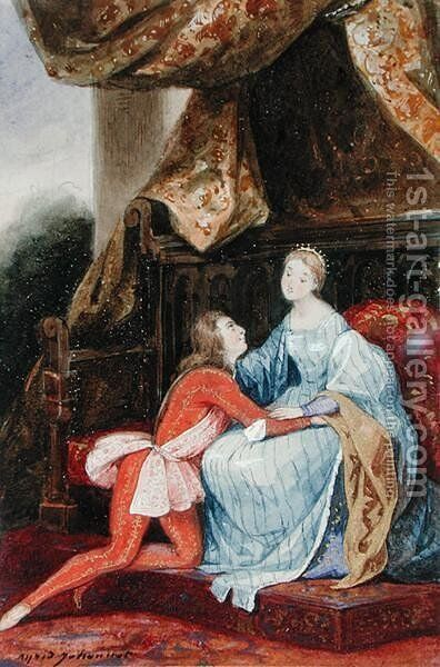 Courtly love by Alfred Johannot - Reproduction Oil Painting