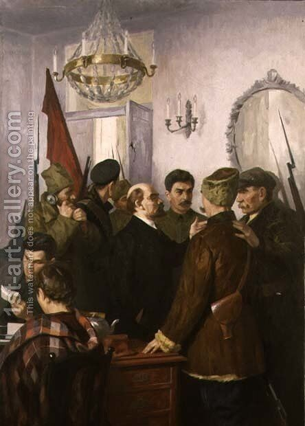 Lenin and Stalin by Masolat Joganszon - Reproduction Oil Painting