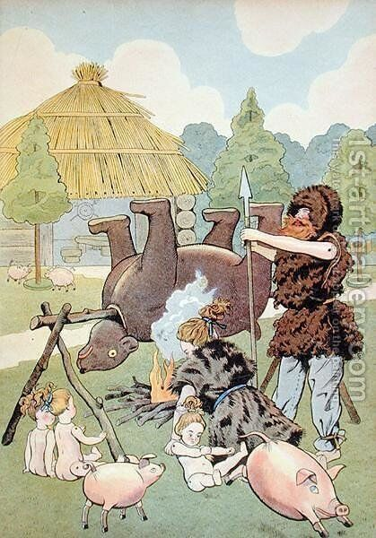 A Gaulish family cooking a bear by Jacques Onfray de Breville - Reproduction Oil Painting