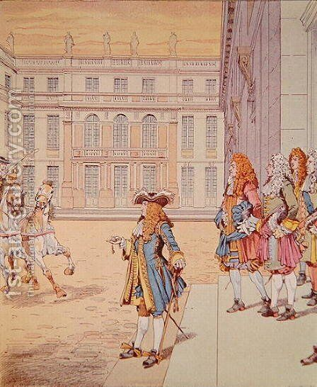Louis XIV in the courtyard of Versailles uttering his celebrated phrase Jai Failli Attendre by Jacques Onfray de Breville - Reproduction Oil Painting