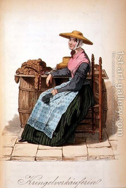 Cracknel Seller by Heinrich Jessen - Reproduction Oil Painting