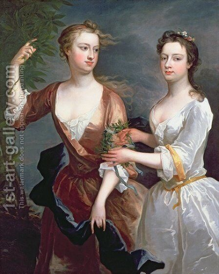 Martha and Theresa Blount by Charles Jervas - Reproduction Oil Painting