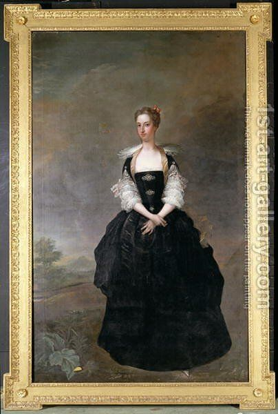 Portrait of a lady member of the Dundas family in a black velvet dress with lace sleeves by Charles Jervas - Reproduction Oil Painting