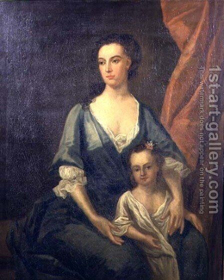 Portrait of Catherine Shorter with Horace Walpole 1717-97 by Charles Jervas - Reproduction Oil Painting