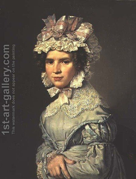 Portrait of a Lady in a Blue Dress by Christian-Albrecht Jensen - Reproduction Oil Painting