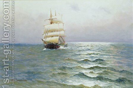 Tall Ship by Alfred Serenius Jensen - Reproduction Oil Painting