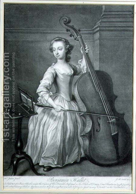 Portrait of Benjamin Hallet playing the violincello by (after) Jenkins, Thomas - Reproduction Oil Painting