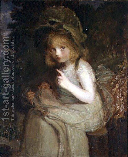 Hush  a girl with a doll by Blanche Jenkins - Reproduction Oil Painting