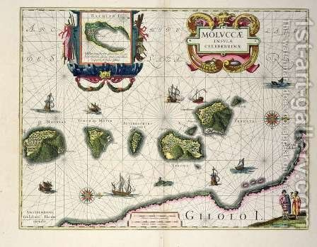 Map showing the Molucca Islands off Halmahera by Joannes Jansson - Reproduction Oil Painting