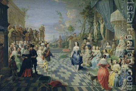 A Ball on the Terrace of a Palace by Hieronymus Janssens - Reproduction Oil Painting