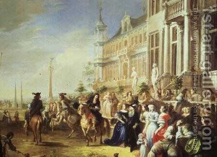 An Elegant Company Before a Palace by Hieronymus Janssens - Reproduction Oil Painting