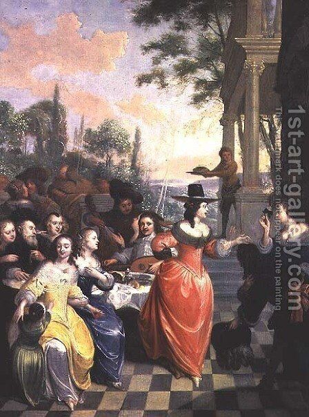 Cavaliers and Ladies on a Balcony Before Dancing Figures by Hieronymus Janssens - Reproduction Oil Painting