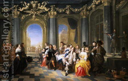 A Feast in an Interior by Hieronymus Janssens - Reproduction Oil Painting