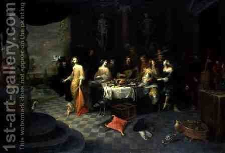 Figures in an Interior by Hieronymus Janssens - Reproduction Oil Painting