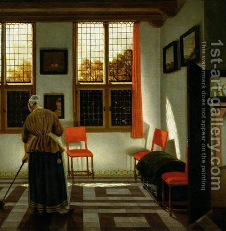 A Dutch Interior by (Elinga) Pieter Janssens - Reproduction Oil Painting
