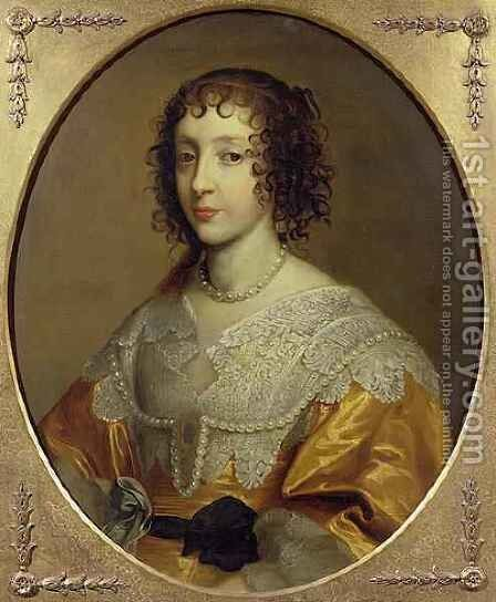 Portrait of Henrietta Maria 1609-69 Queen consort of Charles I of Great Britain and Ireland by Cornelius Janssens van Ceulen - Reproduction Oil Painting
