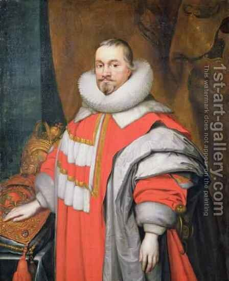 Thomas Coventry 1st Baron Coventry of Aylesborough 1578-1640 Lord Keeper of the Great Seal of England 1625-40 by Janson - Reproduction Oil Painting
