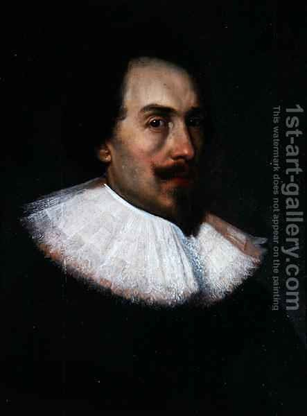 Unknown Gentleman in a White Collar by Cornelius Jansen - Reproduction Oil Painting