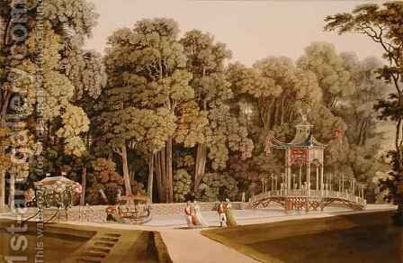 The Chinese Pavilion in the Laxenburg Gardens Vienna by (after) Janscha, Laurenz - Reproduction Oil Painting