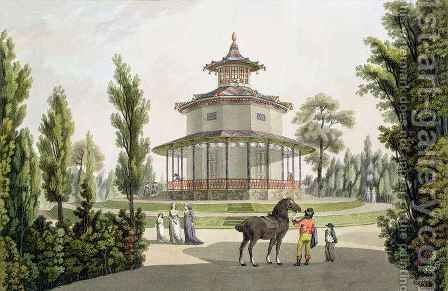 View of the Chinese Summer House Palace of Lichtenstein at Eisgrub by (after) Janscha, Laurenz - Reproduction Oil Painting