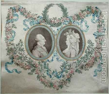 Cover of Bonbonniere depicting Louis XVI 1754-93 and Marie Antoinette 1752-93 by Jean-Francois Janinet - Reproduction Oil Painting