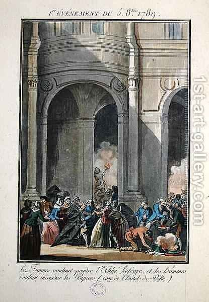 Events of the 5th of October 1789 The Women want to hang the Priest Lefevre by Jean-Francois Janinet - Reproduction Oil Painting