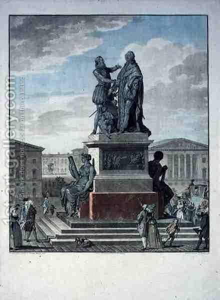 Project for a Monument Dedicated to Louis XVI 1754-93 and Henri IV 1553-1610 by Jean-Francois Janinet - Reproduction Oil Painting