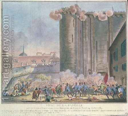 The Taking of the Bastille by the French Guards and the Bourgeoisie by Jean-Francois Janinet - Reproduction Oil Painting