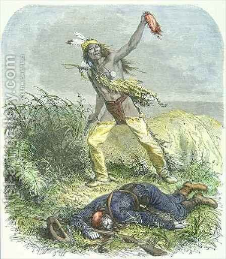 Indian Scalping the Dead Enemy by Ange-Louis (Janet-Lange) Janet - Reproduction Oil Painting