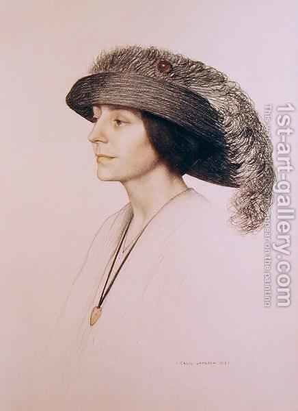 Young Woman Wearing a Feathered Hat by Cecil Stuart Jameson - Reproduction Oil Painting