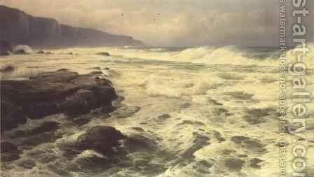 Waves Breaking on a Rocky Shoreline by David James - Reproduction Oil Painting